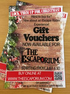 Gift Vouchers, The Escaporium, Christmas, The Piece Hall, Halifax